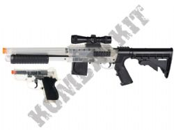 S+W M3000 Tactical BB Shotgun and CS45 Pistol BB Gun Set Black and Clear